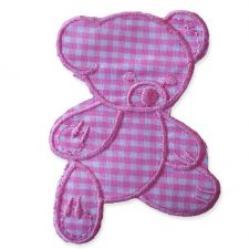 BABY PINK GINGHAM TEDDY MOTIF IRON ON EMBROIDERED PATCH APPLIQUE